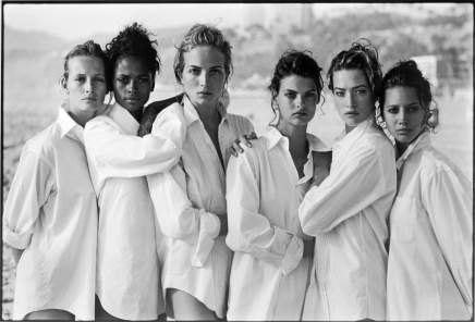 Peter Lindbergh, White Shirts, Class of ´88, Christy Turlington, Estelle Lefébure, Karen Alexander, Linda Evangelista, Rachel Williams, Tatjana Patitz, Vogue, Santa Monica, California , 1988