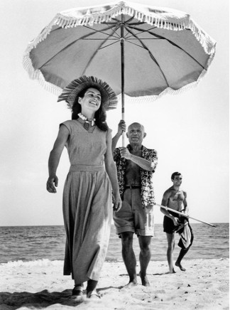Robert Capa, Pablo Picasso with Francoise Gilot and his nephew Javier Vilato on the beach,Golfe-Juan, France, 1948