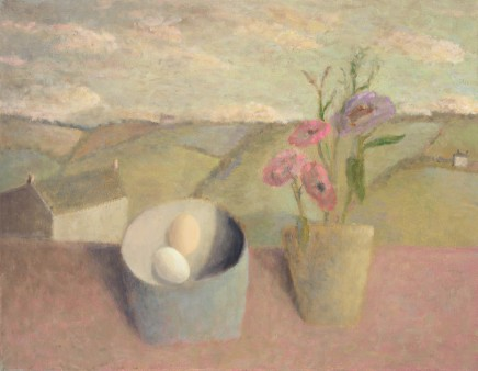 Cornish Landscape with Flowers