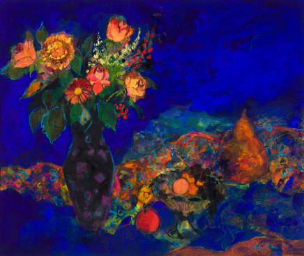Ann Oram, Midnight Still life with Fruit and Flowers
