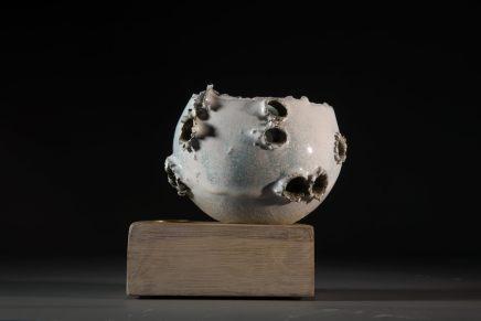 Allison Weightman, Shotgun bowl on oak plinth iii, 2018