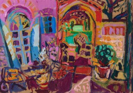 Leonie Gibbs, Tuscan Courtyard with French Windows, Arniano, 2018
