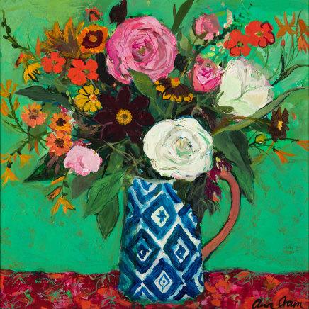 Ann Oram, Summer Flowers on a Green Ground