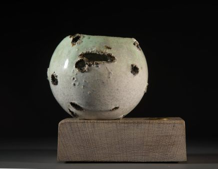 Allison Weightman, Shotgun bowl on oak plinth i, 2018