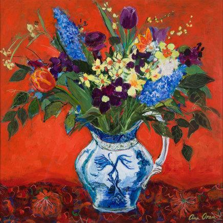 Ann Oram, Spring Flowers on Red Ground