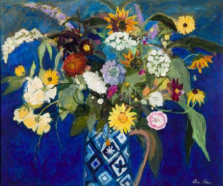 Ann Oram, Summer Flowers in a Blue Patern Jug