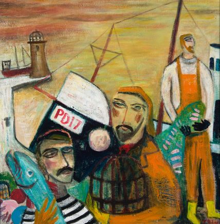 James Newton Adams, Three Fishermen and a Cod, 2018