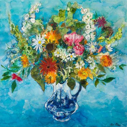 Ann Oram, Mid-summer Flowers on a Blue Ground