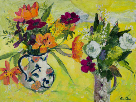 Ann Oram, Two Vases of Spring Flowers on Yellow