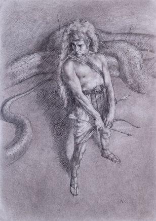 Paul Reid, Apollo and Python drawing, 2014