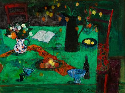 Ann Oram, Kitchen Still-life on Green