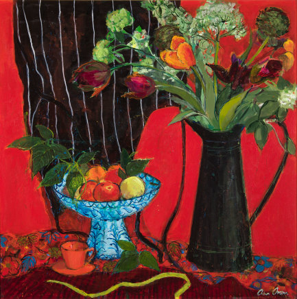 Ann Oram, Kitchen Still-life on Red Ground