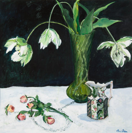 Ann Oram, Tulips and Roses with Ironstone Jug