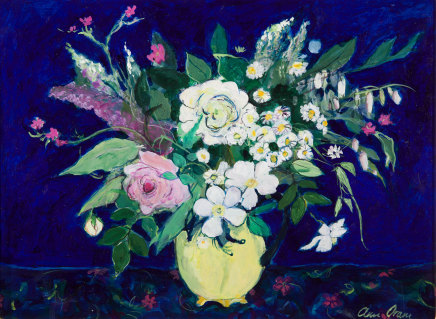Ann Oram, White and Pink Roses in a Yellow Jug