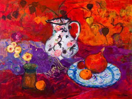 Ann Oram, Red Still-life with Chinese Lanterns