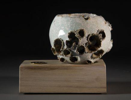 Allison Weightman, Shotgun bowl on oak plinth ii, 2018