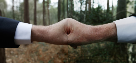 Jonny Briggs, Untitled (Father's clenched fist with flipped photograph of Father's clenched fist), 2016