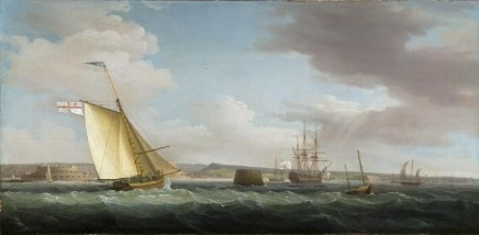 Thomas Whitcombe, A navy yacht flying the white ensign coming up to harbour in the Downs; a French frigate at anchor beyond; a rain shower approaching.