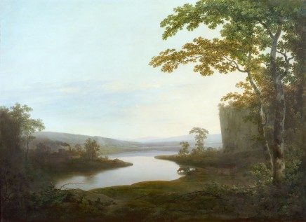"""<span class=%22title%22>A river landscape of Dinting Vale Mill and the Glossop Valley, Derbyshire, with a view of the Mr Edmund Potter's Calico Works, (""""Boggarts Mill""""), looking West.</span>"""