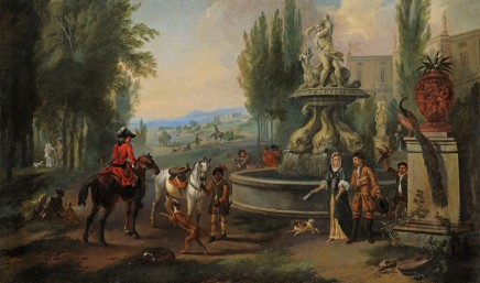 <span class=%22title%22>Elegant company and their horses in front of a country house, preparing to leave for hawking</span>