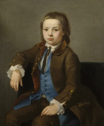 Nathaniel Hone, Portrait of a young boy dressed in a brown coat with a blue waistcoat