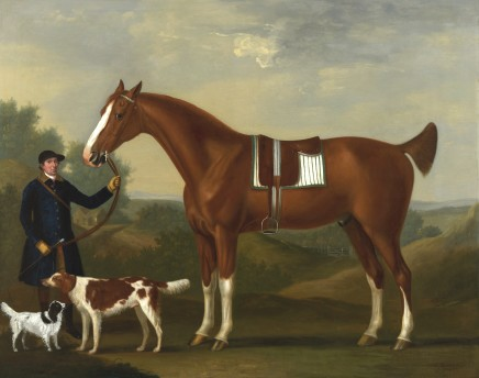 "Francis Sartorius, John Beard, Groom to Captain Bertie, Holding ""Sportsman"" aged 10, his Bay Hunter, and ""Sancho"", his favourite dog, 1769"