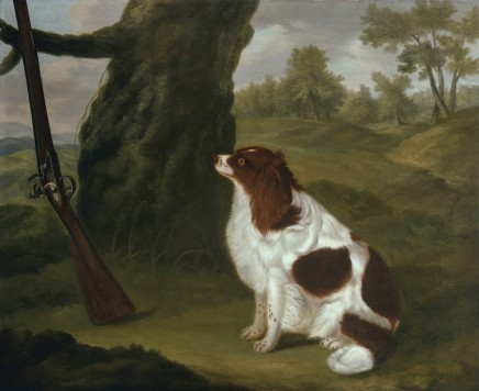 <span class=%22title%22>A liver and white spring spaniel sitting by a tree against which leans a flintlock shotgun</span>