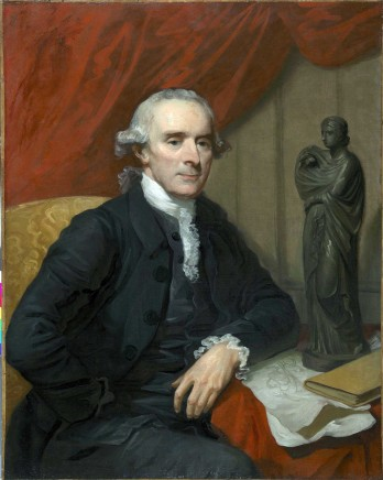 "Mather Brown, Portrait of Nathaniel Chauncey, 1717-1790, sitting at a small table on which rest a leather-bound book, two sheets of drawings and a ""black basalt-ware"" figure of the Muse of sacred poetry, Polyhymnia"