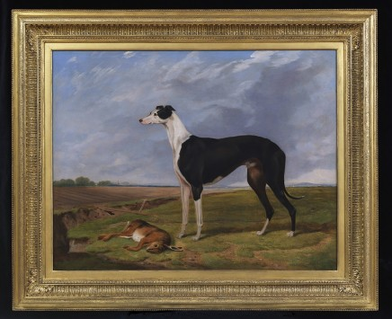 <span class=%22title%22>'Brigadier', winner of the 1866 Waterloo Cup in a landscape at Great Altcar</span>