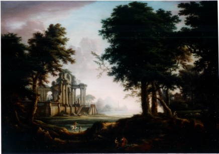 William Oram, A wooded landscape with a view of classical ruins