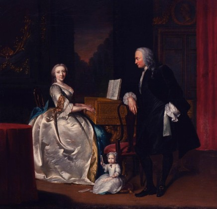 <span class=%22title%22>An evening conversation piece in an opulent interior of Dr Cornelis and Mrs Henriette Hageman and their son Johan Jacob, she playing a giltwood single-manual harpsichord, he leaning on a chair and the child sitting on a cushion holding playing cards</span>