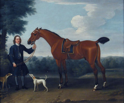 Thomas Spencer, Groom, saddled hunter and hound