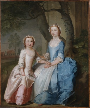 Thomas Bardwell, Two sisters sitting on a wooded bank with a view of a country house beyond