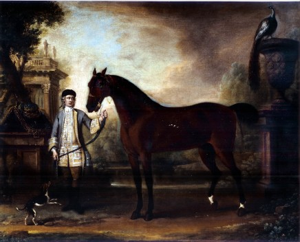 <span class=%22title%22>A lady's bay hunter held by a liveried groom in a classical landscape, with a hound and a peacock looking on</span>