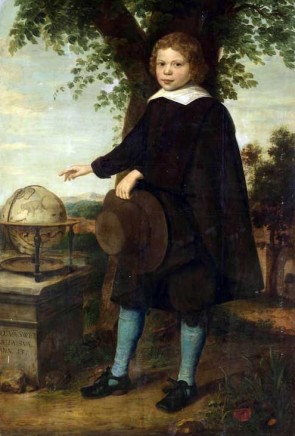 <span class=%22title%22>Full-length portrait of Jan Van Swieten standing in a landscape by a celestial globe on a stone plinth, holding broad-brimmed hat and pointing to the constellation of Ursa Major</span>