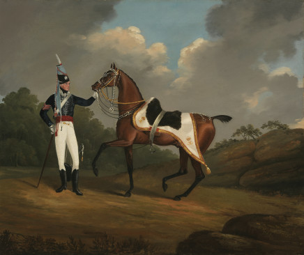 Edwin Cooper, RSM (later Lieut. and adjutant) Arthur Myers of the 7th Hussars with his charger, 1805