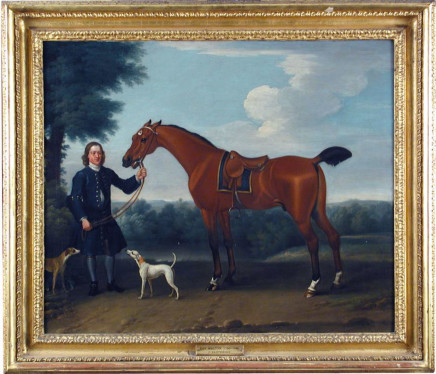 Thomas Spencer, Groom, saddled hunter and hound