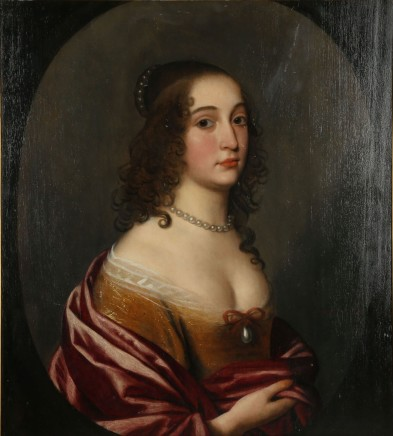 """<span class=%22title%22>Portrait of """"Madlle  Gerrett"""" in a decollete yellow dress and red satin wrap</span>"""