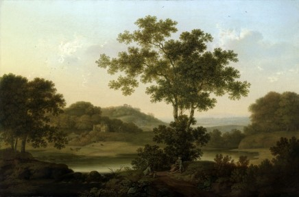 George Smith of Chichester, A wooded landscape with a country house, classical ruins on a distant hill, and three travellers resting in the foreground
