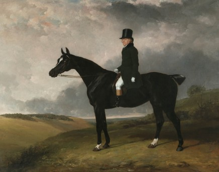 """<span class=%22title%22>Portrait of Daniel Haigh of the Old Surrey on his dark bay hunter """"Kitten"""" in a rolling landscape</span>"""