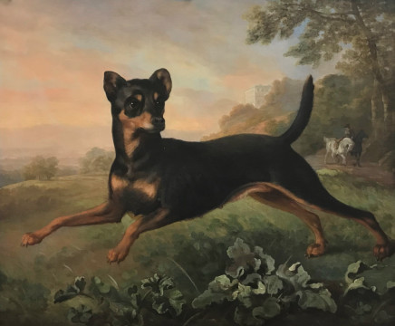 Philip Reinagle, A Manchester terrier with Horse, Man and Villa Beyond