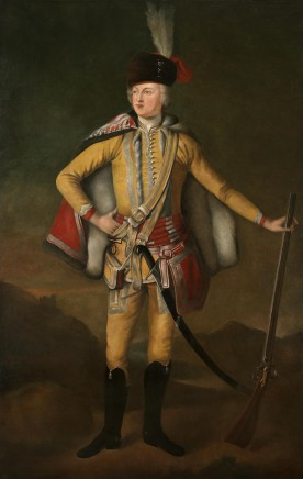 """Full length portrait of John 20th Earl of Crawford and Lindsay, """"The Gallant Earl of Crawford"""" (1702-1749) dressed in Hussars' uniform holding a musket and standing in a highland landscape"""