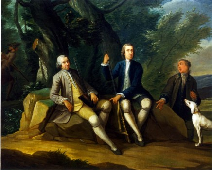 <span class=%22title%22>A sporting Conversation Piece: two gentlemen with their guns and dogs rest at the edge of a wood; a third approaches them whilst a fourth, gun in hand, walks into the wood</span>
