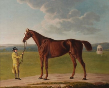 Benjamin Killingbeck, A liveried groom holding a chestnut race-horse on Nantwich racecourse