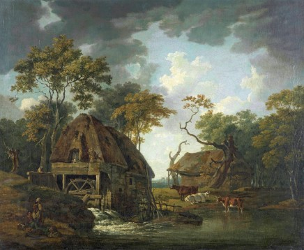 George Barret, Landscape with a watermill, with figures resting by the millpond