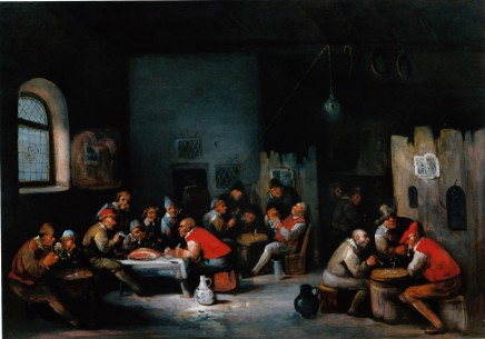<span class=%22title%22>A tavern scene with groups of revellers sitting eating and drinking at tables</span>