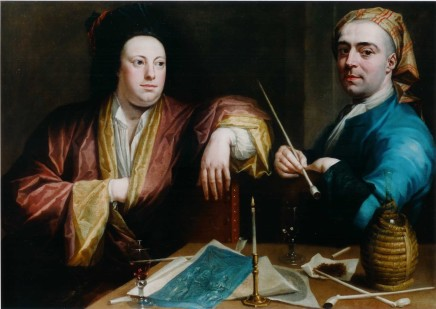 Joseph van Aken, Two artists sitting at a table with a candle, pipes, tobacco a flask of wine and a sketch-drawing and other papers: here identified as the Van Aken brothers, Alexander, the mezzotint engraver, and Joseph, painter in oils