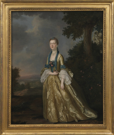 John S C Schaak, Portrait of a lady, full length, a landscape beyond