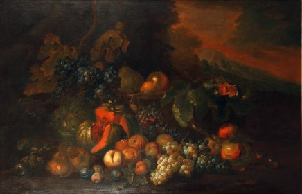 Joseph Teal Cooper, An allegory of Autumn: a still life assemblage of fruits: black and white grapes, pear, plums melon, plums, peaches pomegranates and figs on a bank, with distant views of a mountain in evening light