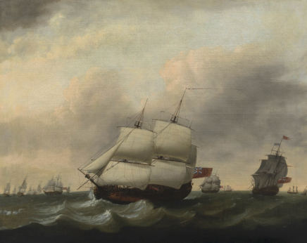 Warship in full sail